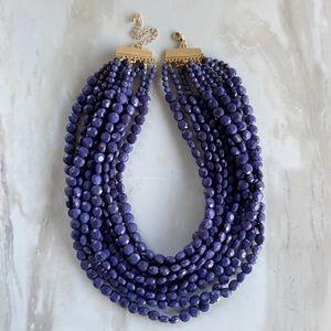 Navy Briolette Beaded Statement Necklace